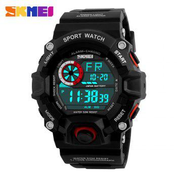 Skmei 1019 Military LED Watch Water Resistant Day Date Alarm Stopwatch Sports Wristwatch - RED RED