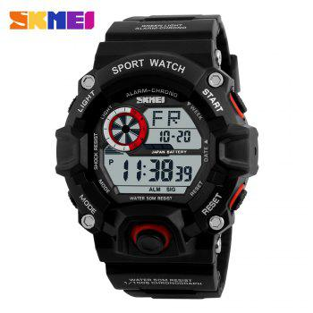 Skmei 1019 Military LED Watch Water Resistant Day Date Alarm Stopwatch Sports Wristwatch -  RED
