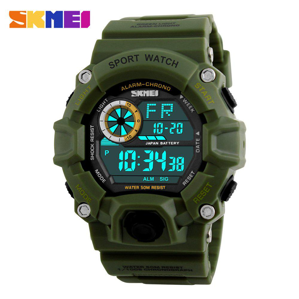 Skmei 1019 Military LED Watch Water Resistant Day Date Alarm Stopwatch Sports Wristwatch - ARMY GREEN
