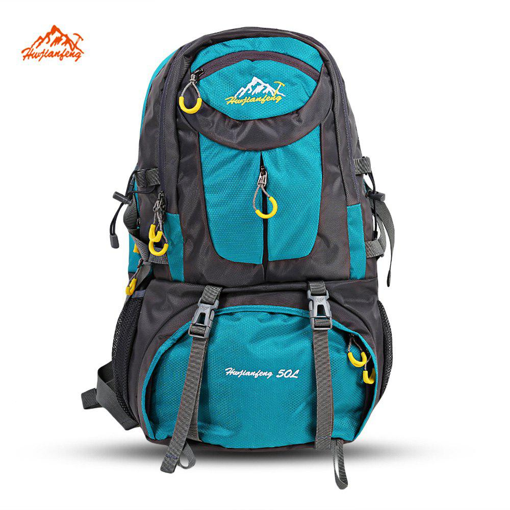HUWAIJIANFENG 50L Outdoor Sport Traveling Climbing Backpack Multifunctional Hiking Bag - MARINE GREEN