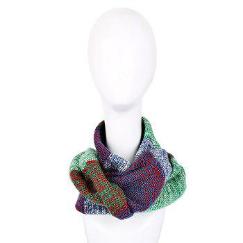 Casual Color Block Rainbow Design Warm Knitted Scarf for Women