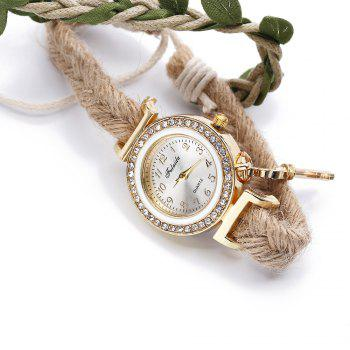 Fulaida Female Bohemia Type Rhinestone Dial Petal Pattern Watch Women Hand Decoration - WHITE