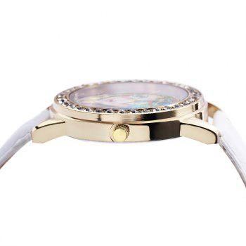 Women Quartz Watch Rhinestone Exquisite Pattern Leather Band Bangle Fashion Wristwatch - WHITE