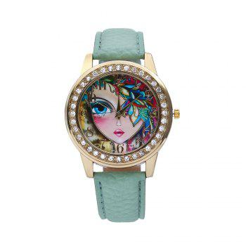 Women Quartz Watch Rhinestone Exquisite Pattern Leather Band Bangle Fashion Wristwatch - GREEN