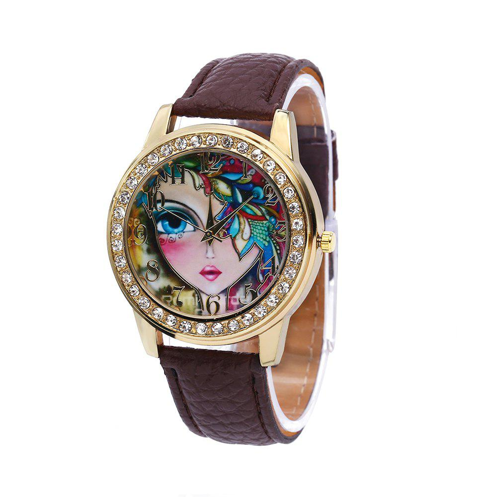 Women Quartz Watch Rhinestone Exquisite Pattern Leather Band Bangle Fashion Wristwatch - BROWN