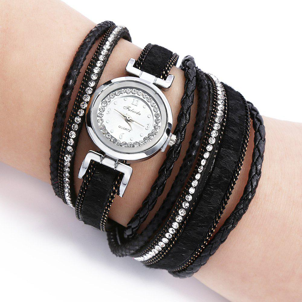 FULAIDA Women Quartz Watch Leather Band Rhinestone Bangle Wristwatch - BLACK