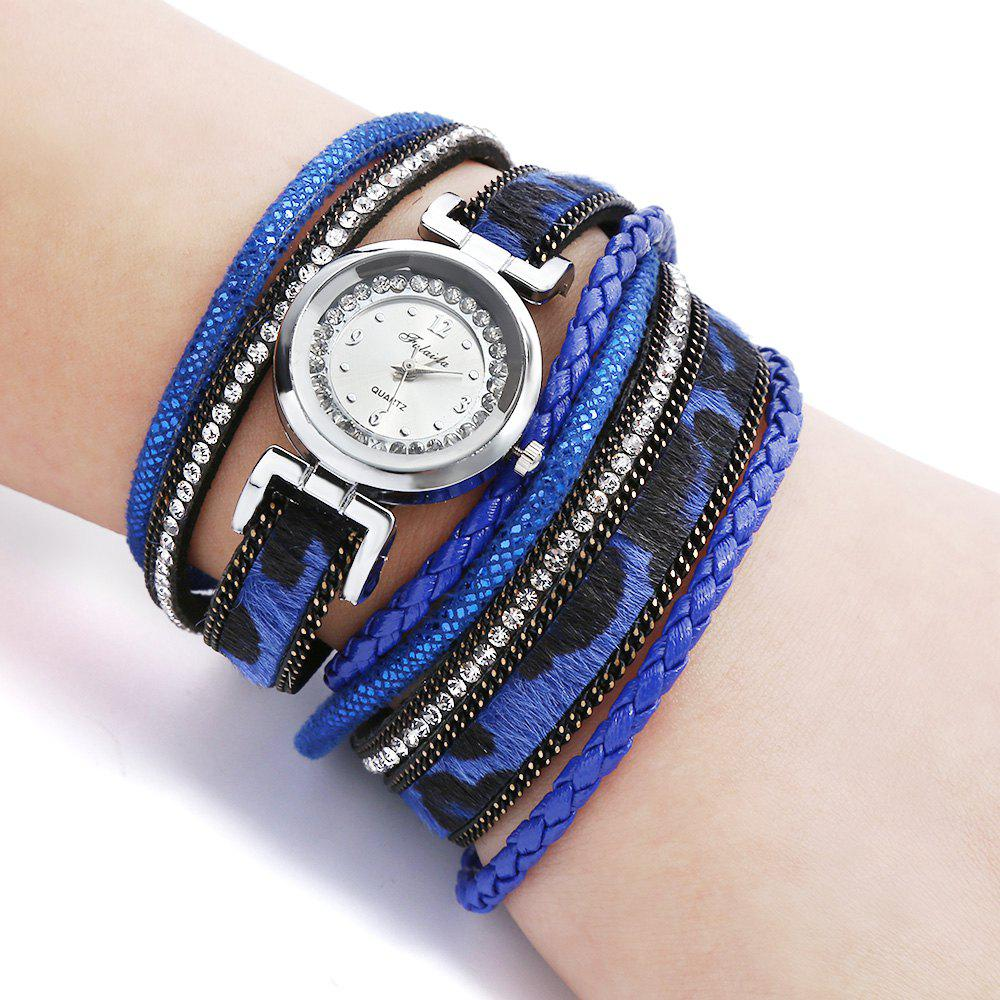 FULAIDA Women Quartz Watch Leather Band Rhinestone Bangle Wristwatch - BLUE