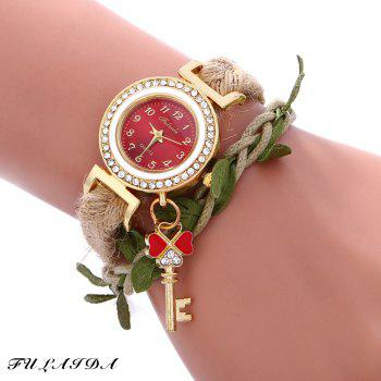 Fulaida Female Bohemia Type Rhinestone Dial Petal Pattern Watch Women Hand Decoration