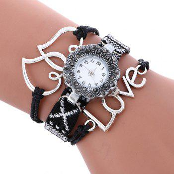 Female Quartz Watch Rhinestone Love Decoration Leather Band Fashion Bangle Wristwatch