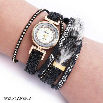FULAIDA Women Quartz Watch Rhinestone Fur Decoration Leather Band Bangle Fashion Wristwatch