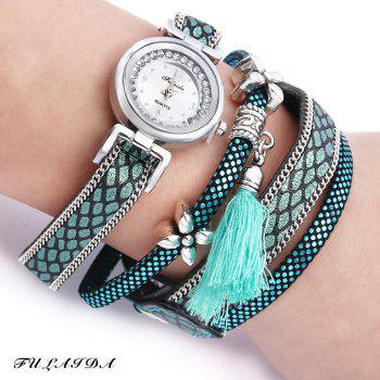 FULAIDA Women Quartz Watch Leather Band Rhinestone Tassel Decoration Wristwatch