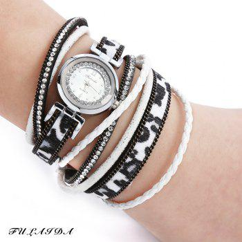 FULAIDA Women Quartz Watch Leather Band Rhinestone Bangle Wristwatch
