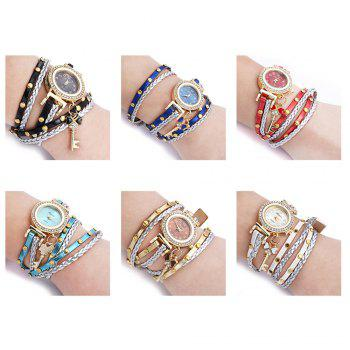 FULAIDA Women Quartz Watch Leather Band Rhinestone Bracelet Wristwatch - WHITE