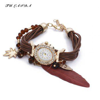 FULAIDA Women Quartz Watch Rhinestone Feather Decoration Bangle Wristwatch