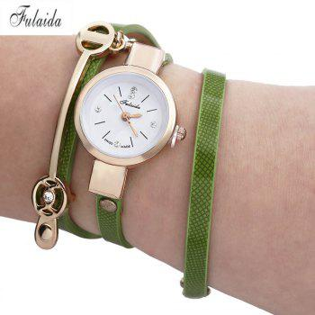 FULAIDA Women Quartz Watch Rhinestone Leather Band Bangle Fashion Wristwatch