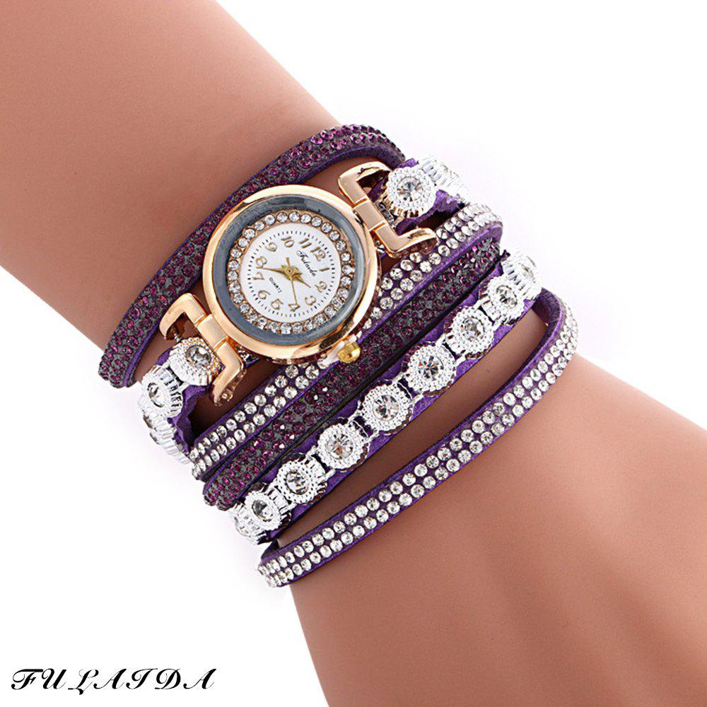 FULAIDA Female Quartz Watch Rhinestone Leather Band Fashion Bangle Wristwatch - PURPLE