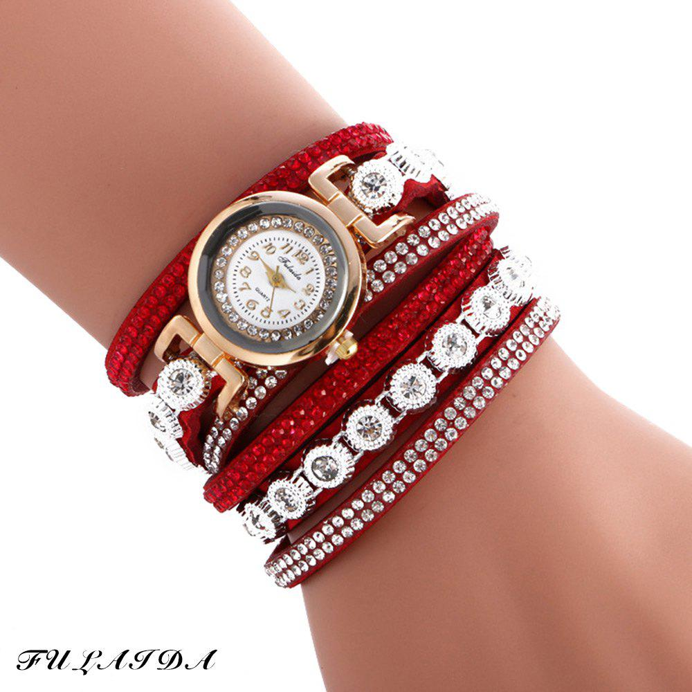 FULAIDA Female Quartz Watch Rhinestone Leather Band Fashion Bangle Wristwatch - RED
