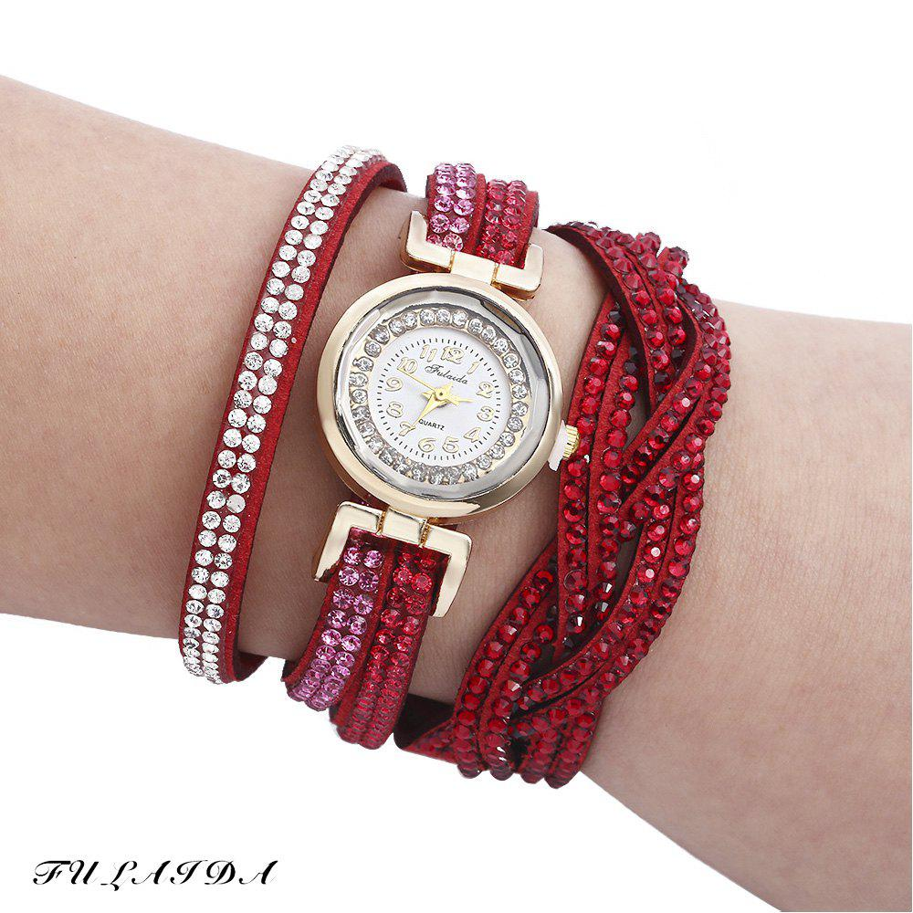 Fulaida Quartz Female Rhinestone Watch Fashion Bracelet Wristwatch Hand Decoration - RED
