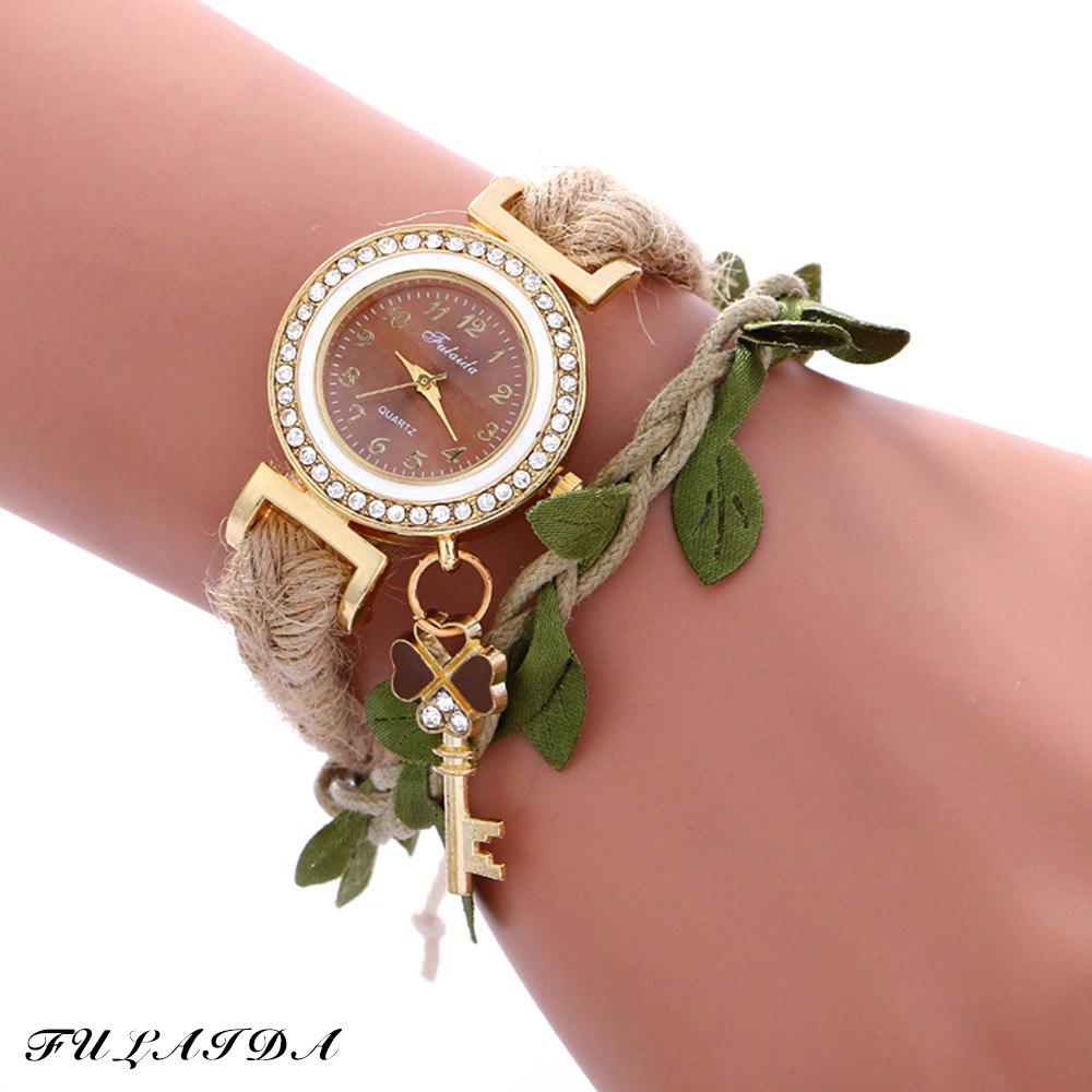 Fulaida Female Bohemia Type Rhinestone Dial Petal Pattern Watch Women Hand Decoration - BROWN
