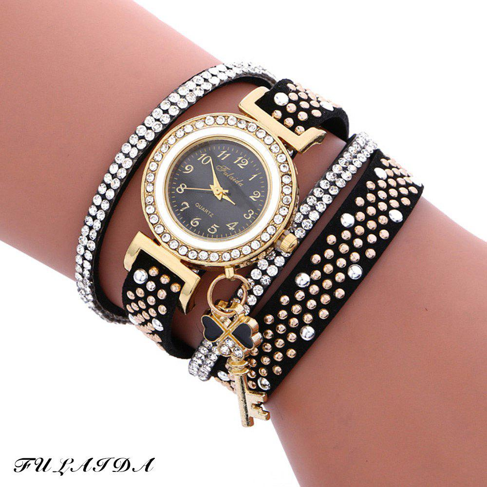 Fulaida Quartz Female Rhinestone Watch Leather Band Hand Decoration Wristwatch - BLACK