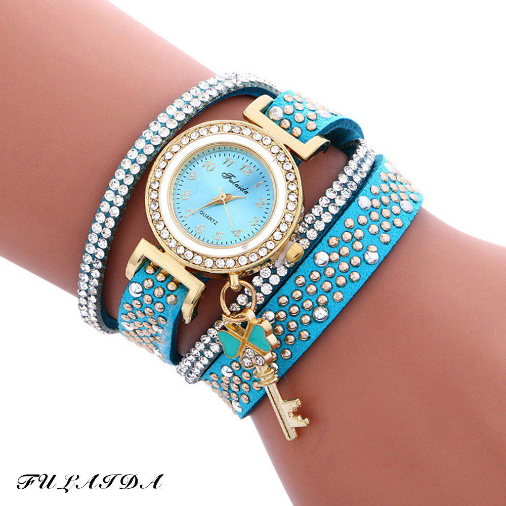 Fulaida Quartz Female Rhinestone Watch Leather Band Hand Decoration Wristwatch - LAKE BLUE