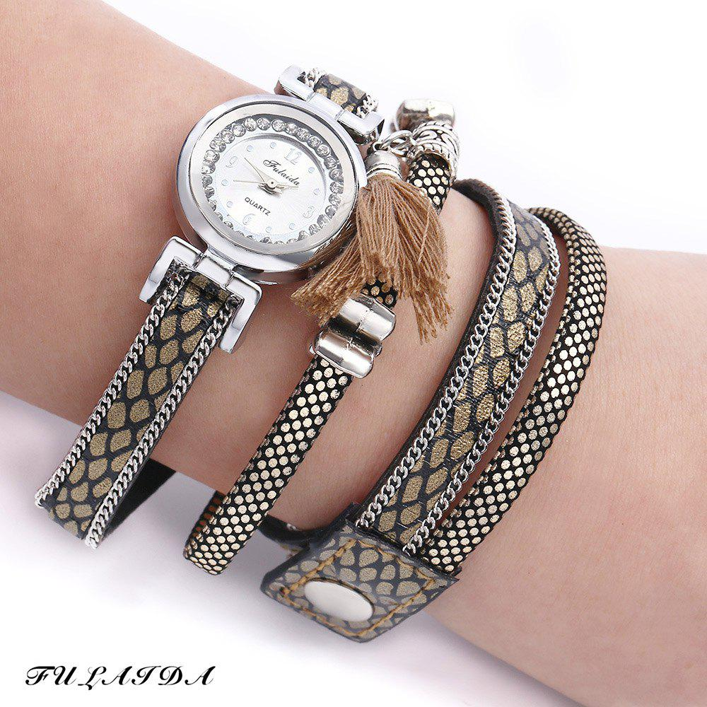 FULAIDA Women Quartz Watch Leather Band Rhinestone Tassel Decoration Wristwatch - LIGHT COFFEE