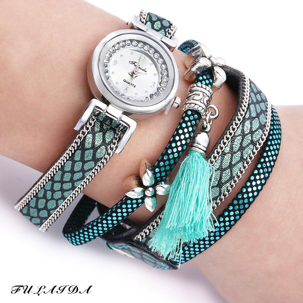 FULAIDA Women Quartz Watch Leather Band Rhinestone Tassel Decoration Wristwatch - LAKE BLUE