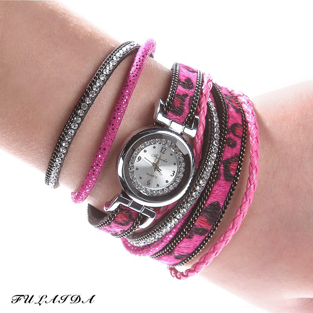 FULAIDA Women Quartz Watch Leather Band Rhinestone Bangle Wristwatch - ROSE RED