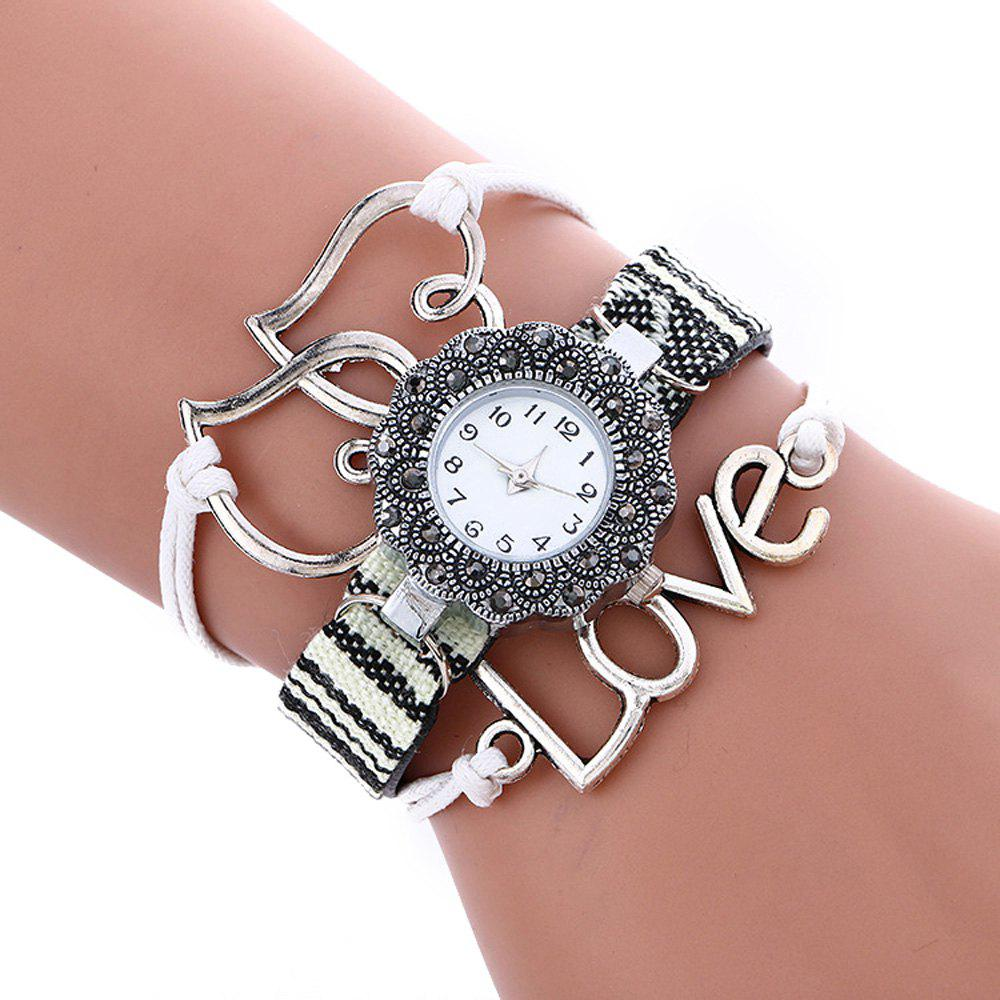 Female Quartz Watch Rhinestone Love Decoration Leather Band Fashion Bangle Wristwatch female watch