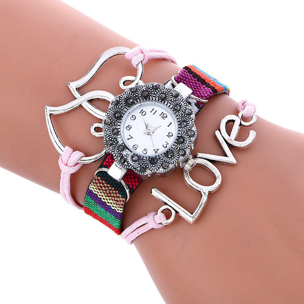 Female Quartz Watch Rhinestone Love Decoration Leather Band Fashion Bangle Wristwatch women fashion watches rose gold rhinestone leather strap ladies watch analog quartz wristwatch clocks hour gift relogio feminino