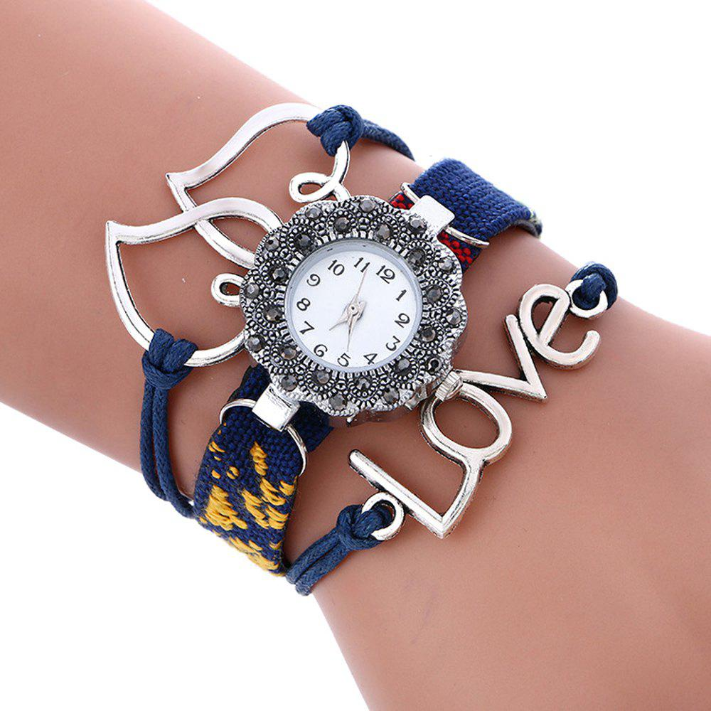 Female Quartz Watch Rhinestone Love Decoration Leather Band Fashion Bangle Wristwatch - BLUE
