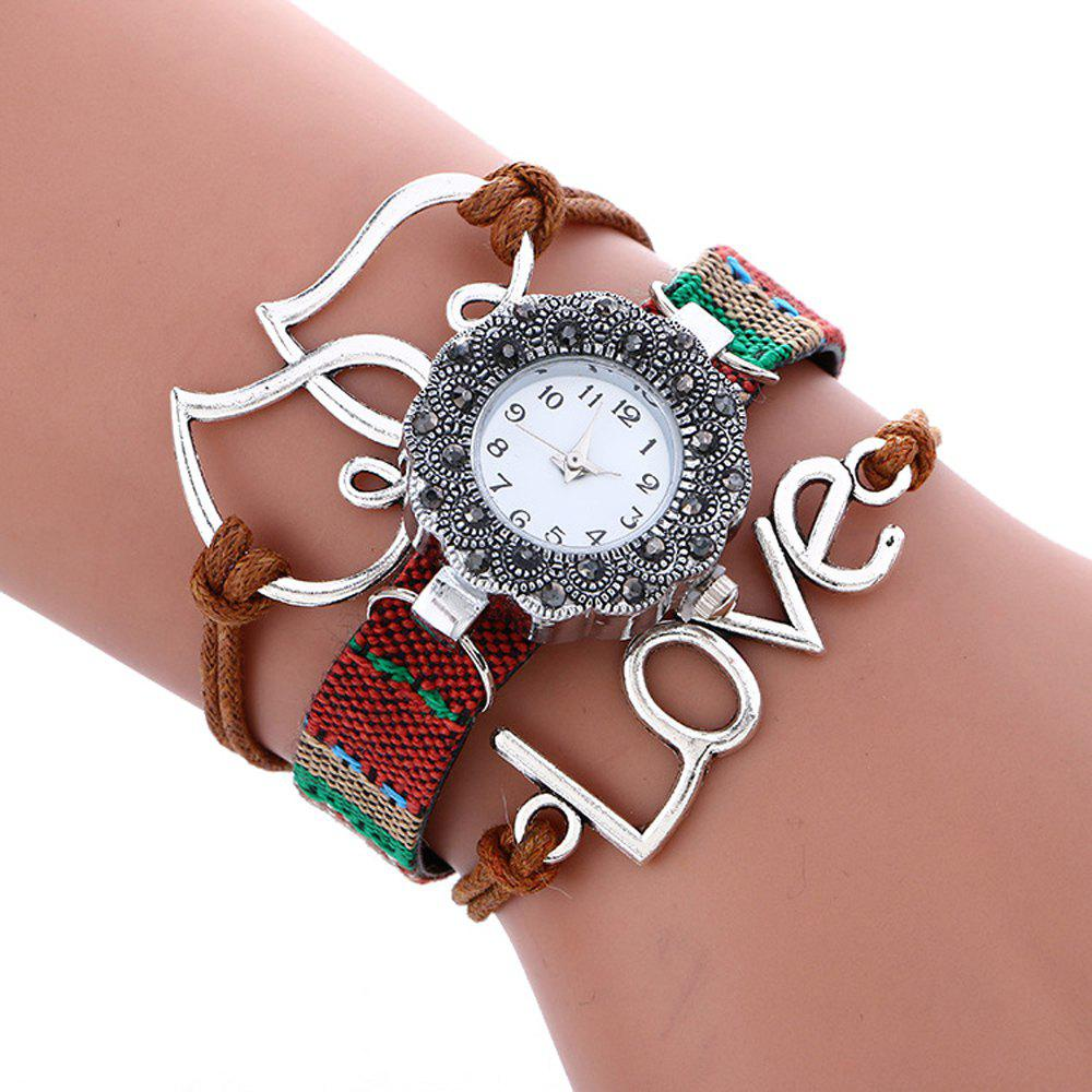 Female Quartz Watch Rhinestone Love Decoration Leather Band Fashion Bangle Wristwatch, Coffee
