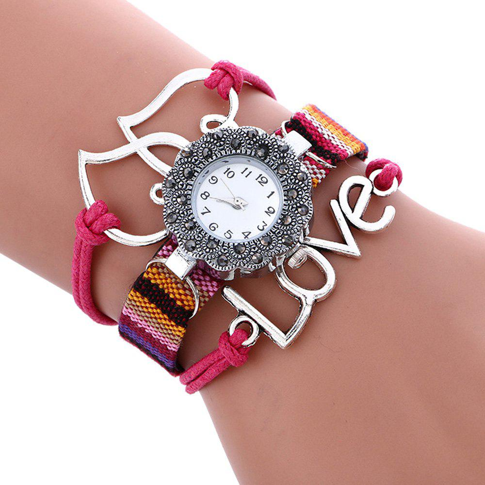 Female Quartz Watch Rhinestone Love Decoration Leather Band Fashion Bangle Wristwatch - ROSE RED