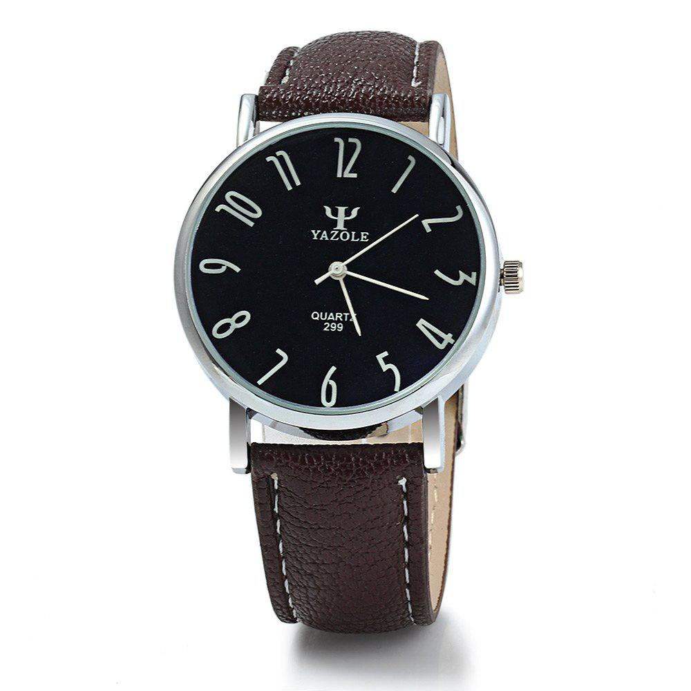 Yazole 299 Business Quartz Watch with Leather Band for Men - BLACK BROWN