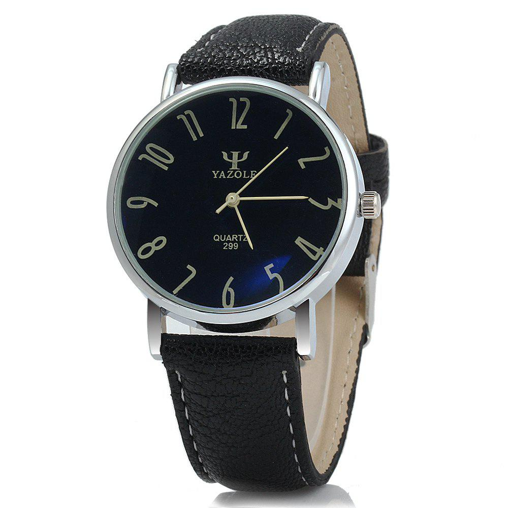 Yazole 299 Business Quartz Watch with Leather Band for Men - BLACK BLACK