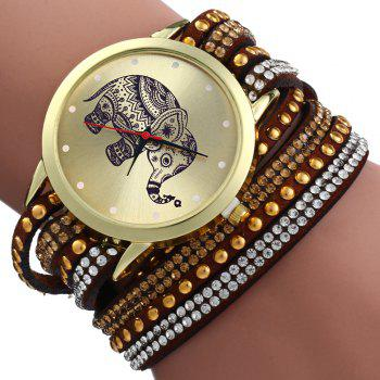 Women Wrist Quartz Watch Elephant Rivet Bracelet Braided Winding Wrap