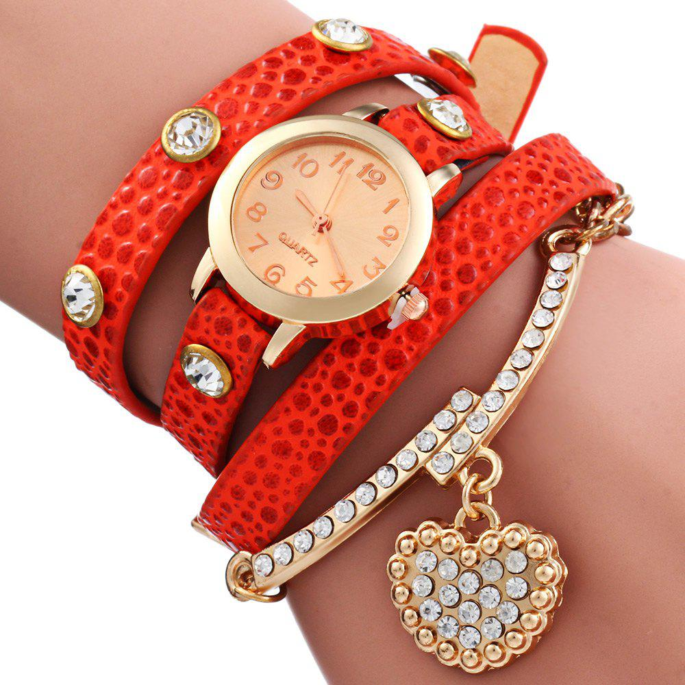 Vintage Leopard Leather Wrap Bracelet Wrist Women Watch with Heart Pendant Rhinestone - ORANGE RED