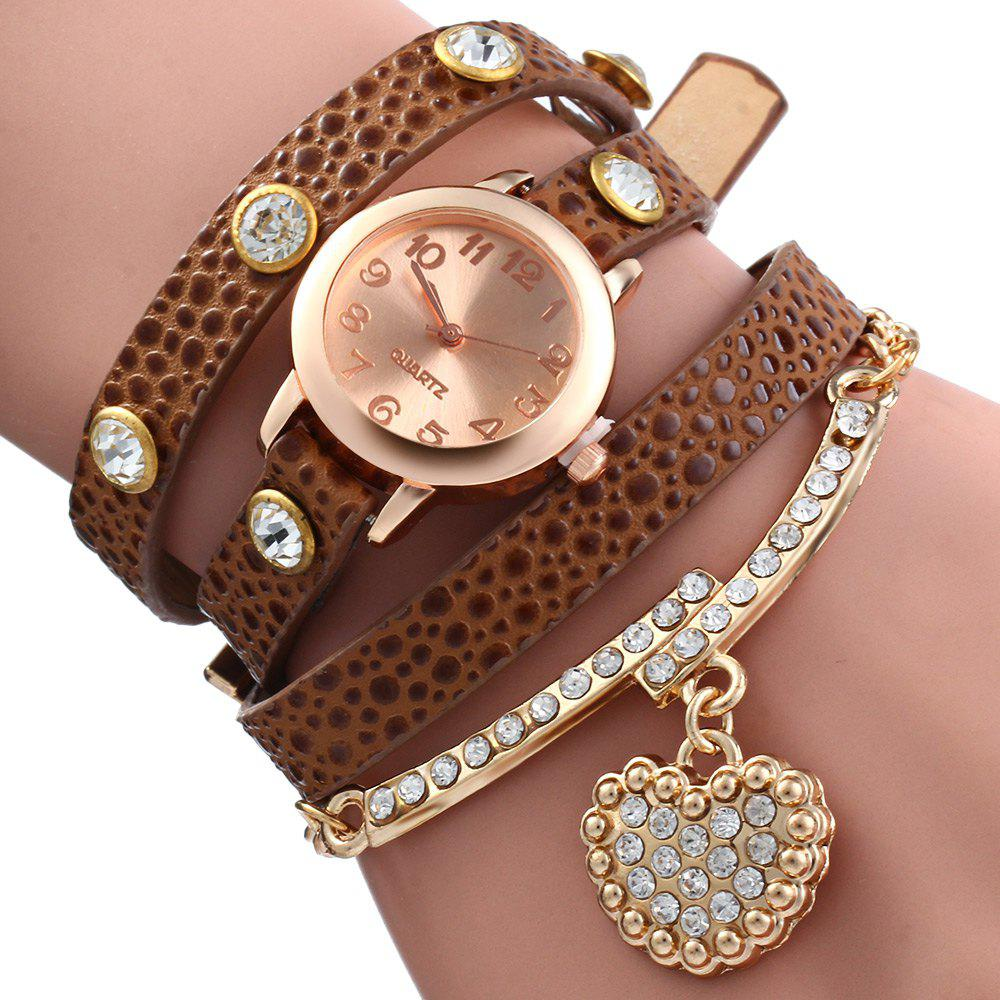 Vintage Leopard Leather Wrap Bracelet Wrist Women Watch with Heart Pendant Rhinestone - COFFEE