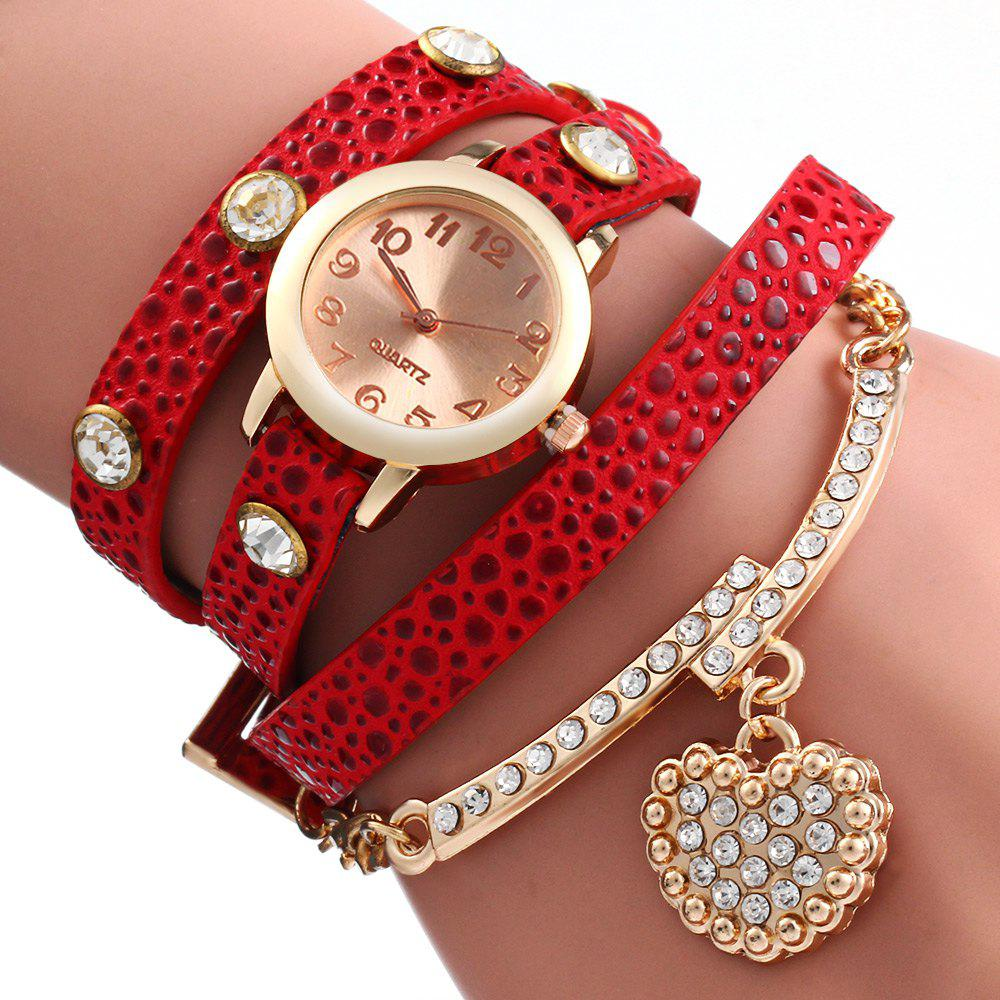 Vintage Leopard Leather Wrap Bracelet Wrist Women Watch with Heart Pendant Rhinestone - RED
