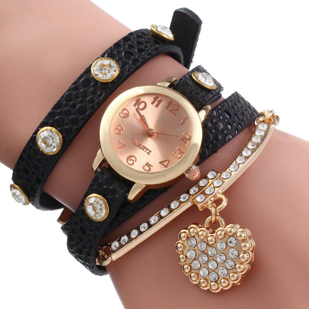 Vintage Leopard Leather Wrap Bracelet Wrist Women Watch with Heart Pendant Rhinestone - BLACK