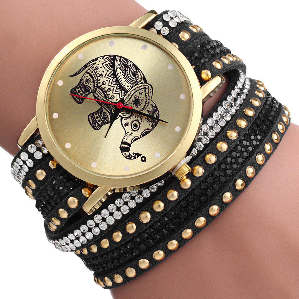 Women Wrist Quartz Watch Elephant Rivet Bracelet Braided Winding Wrap - BLACK