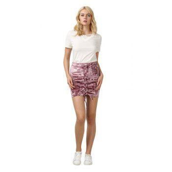 Crushed Velvet Lace Up Mini Skirt - XS XS