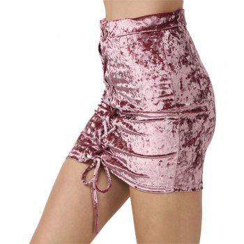 Crushed Velvet Lace Up Mini Skirt - HEATHER VIOLET M