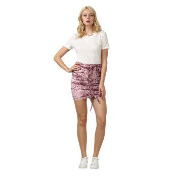 Crushed Velvet Lace Up Mini Skirt - M M