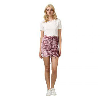 Crushed Velvet Lace Up Mini Skirt