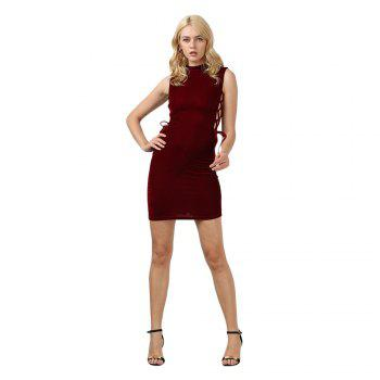Sexy Stand Collar Hollow Out Lace-up Zipper Velvet Dress for Women