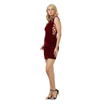 Sexy Stand Collar Hollow Out Lace-up Zipper Velvet Dress for Women - PURPLISH RED S