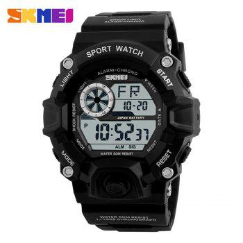 Skmei 1019 Military LED Watch Water Resistant Day Date Alarm Stopwatch Sports Wristwatch - BLACK