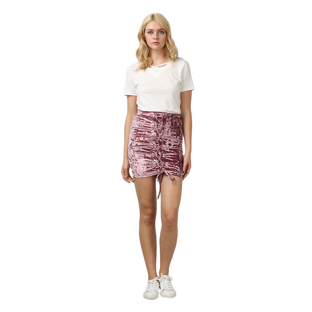 Crushed Velvet Lace Up Mini Skirt - HEATHER VIOLET S