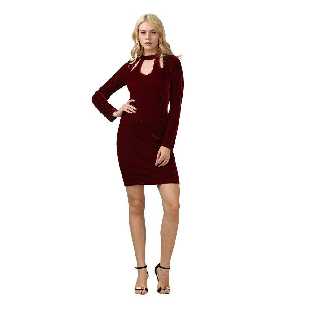 Stylish Long Sleeve U Neck Velvet Sheath Dress for Women - PURPLISH RED L